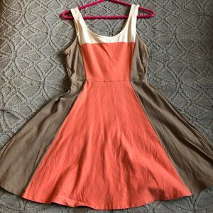 Express sized M coral panel fit and flare dress